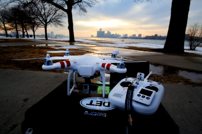 The DJI Phantom 2 drone, favored by journalists who have been testing unmanned ariel photography.