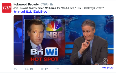 Click on image to see Jon Stewart's report on Brian WIlliams, who is a friend of The Daily Show.